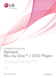 LG BP320 Blu-ray Disc Player Manual