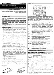 Sharp EL-501W Operation Manual Screenshot