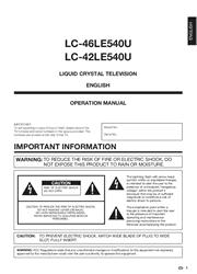 Sharp LC-46LE540U/42LE540U Operation Manual Screenshot