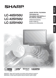 Sharp LC-46SV50U/42SV50U/32SV40U Operation Manual Screenshot