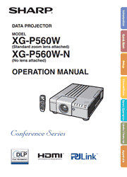 Sharp XG-P560W Operation Manual Screenshot