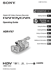 Sony HDR-FX7 Operating Guide Screenshot