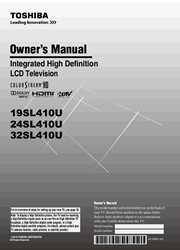 Toshiba 19SL410U/24SL410U/32SL410U Owner Manual Screenshot