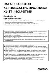 Casio XJ-H2600/H2650 USB Function Guide Screenshot
