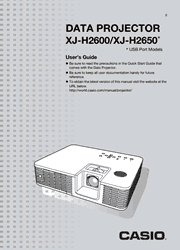 Casio XJ-H2600/H2650 User Guide Screenshot