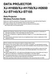 Casio XJ-H2600/H2650 Wireless Function Guide Screenshot