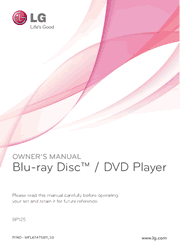 LG BP125 Blu-ray Disc Player Owner Manual Screenshot