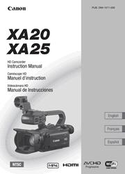 Canon XA20/XA25 Camcorder Instruction Manual (English, Español, Français) Screenshot