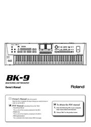 Roland BK-9 Backing Keyboard Owner Manual Screenshot