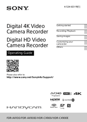Sony FDR-AX100/FDR-AX100E/HDR-CX900/HDR-CX900E Camcorder Operating Guide Screenshot