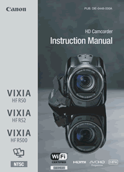 Canon VIXIA HF R50/R52/R500 Camcorder Instruction Manual Screenshot