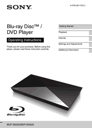 Sony BDP-S6200/BX620 Blu-ray Disc DVD Player Operating Instructions Screenshot