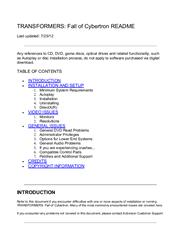 Transformers: Fall of Cybertron PC Manual Screenshot